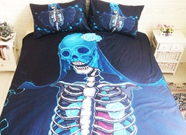 Vivilinen 3D Skull Printed Polyester 3-Piece Black Bedding Sets/Duvet Covers
