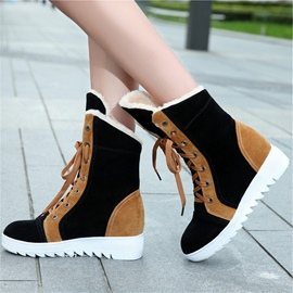 Ericdress Patchwork Lace up Snow Boots
