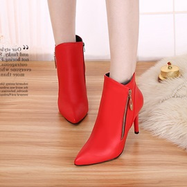 Ericdress Zipper Plain Pointed Toe High Heel Boots