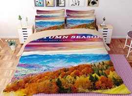 Vivilinen 3D Autumn Landscape Forest Printed Polyester 4-Piece Bedding Sets/Duvet Covers