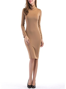 Ericdress High Neck Long Sleeves Plain Sheath Dress