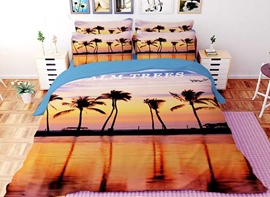 Vivilinen 3D Tropical Palm Trees Printed Polyester 4-Piece Bedding Sets/Duvet Covers