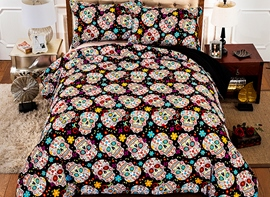 Vivilinen 3D Colorful Floral and Skulls Printed Polyester 4-Piece Bedding Sets/Duvet Covers