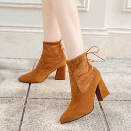 Ericdress Lace-Up Back Patchwork Plain High Heel Boots