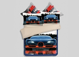 Vivilinen Luxury Car Reactive Printing 4-Piece Polyester Duvet Cover Sets
