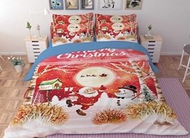 Vivilinen 3D Christmas Santa and Sleigh Snowman Printed Polyester 4-Piece Bedding Sets/Duvet Covers