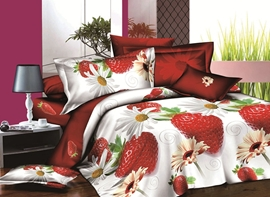 Vivilinen Tempting Strawberry and Daisy Print 4-Piece Polyester Duvet Cover Sets