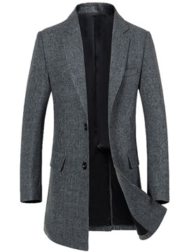 Ericdress Plain Lapel Single-Breasted Vogue Slim Men's Trench Coat