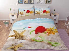 Vivilinen 3D Conch and Starfish Printed Polyester 4-Piece Bedding Sets/Duvet Covers