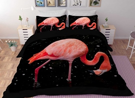 Vivilinen 3D Pink Flamingo Printed Polyester 4-Piece Black Bedding Sets/Duvet Covers