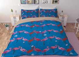 Vivilinen 3D Pink Flamingos Printed Polyester 4-Piece Blue Bedding Sets/Duvet Covers