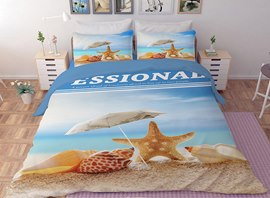 Vivilinen 3D Nautical Starfish and Shells Printed Polyester 4-Piece Bedding Sets/Duvet