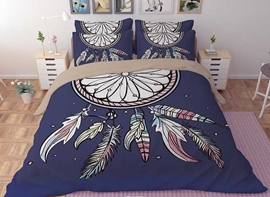 Vivilinen 3D Dream Catcher Printed Polyester 4-Piece Blue Bedding Sets/Duvet Covers