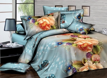 Vivilinen Gorgeous Peony and Grape Print 4-Piece Polyester Duvet Cover Sets
