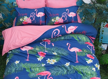 Vivilinen 3D Pink Flamingo and Green Leaves Printed Polyester 4-Piece Bedding Sets/Duvet Covers