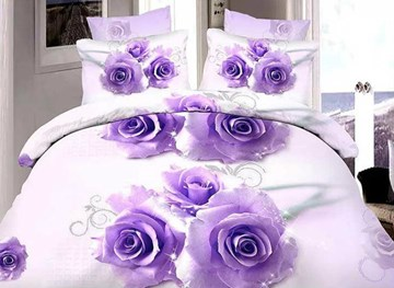 Vivilinen Brilliant Purple Rose Print 4-Piece Duvet Cover Sets