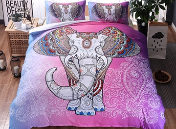 Vivilinen 3D Elephant Printed Boho Style Polyester 3-Piece Pink Bedding Sets/Duvet Covers