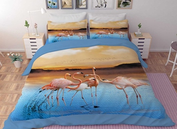 Vivilinen 3D Pink Flamingos Printed Polyester 4-Piece Bedding Sets/Duvet Covers