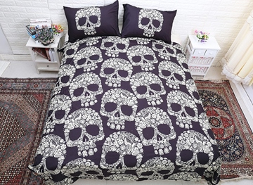 Vivilinen 3D Skulls Printed Polyester 3-Piece Bedding Sets/Duvet Covers