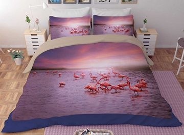 Vivilinen 3D Flamingo Paradise Printed Polyester 4-Piece Bedding Sets/Duvet Covers