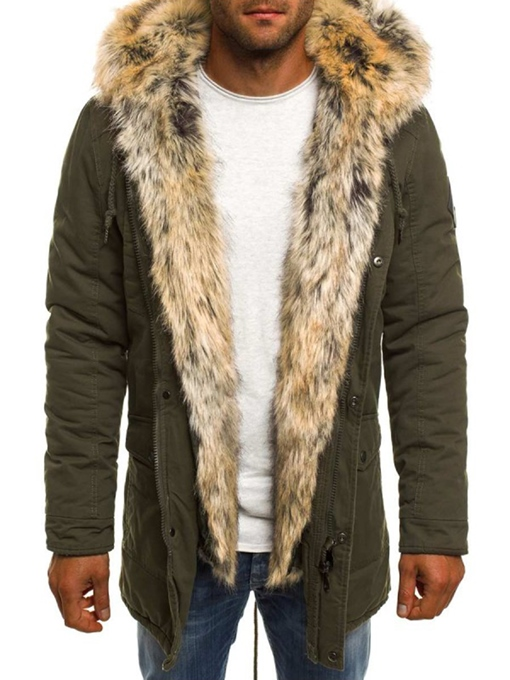 Ericdress Plain Faux Fur Zipper Thicken Small Size Men's Winter Coat