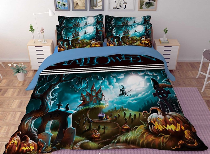 Vivilinen 3D Halloween Pumpkin and Castle Printed Polyester 4-Piece Bedding Sets/Duvet Covers