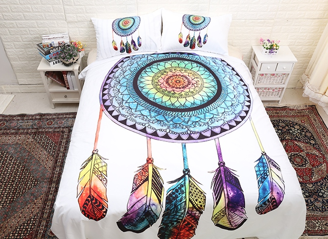 Vivilinen 3D Dream Catcher Printed Polyester 3-Piece White Bedding Sets/Duvet Covers