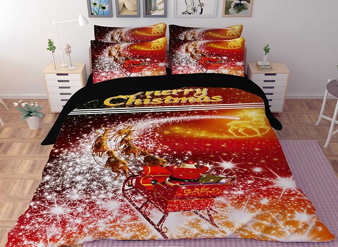 Vivilinen 3D Santa with Sleigh and Reindeer Printed Polyester 4-Piece Bedding Sets/Duvet Covers