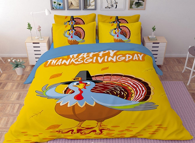 Vivilinen 3D Turkey Printed Polyester 4-Piece Yellow Bedding Sets/Duvet Covers
