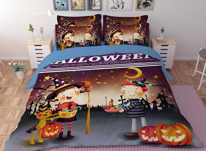 Vivilinen 3D Halloween Pumpkin and Kids Printed Polyester 4-Piece Bedding Sets/Duvet Covers