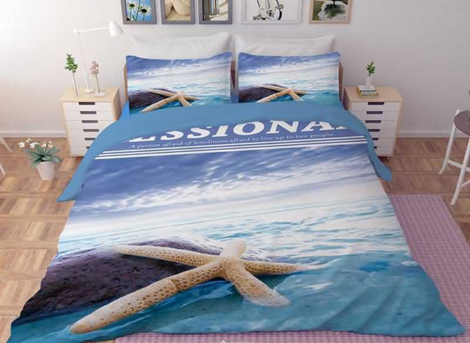 Vivilinen 3D Starfish in the Sea Printed Polyester 4-Piece Bedding Sets/Duvet