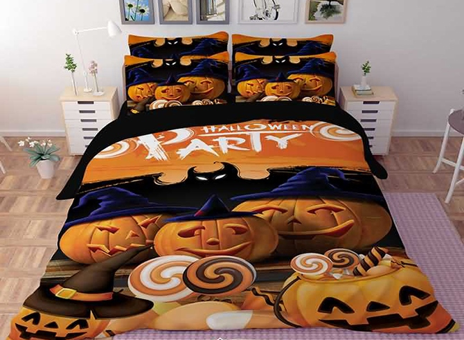 Vivilinen 3D Halloween Pumpkin Printed Polyester 4-Piece Bedding Sets/Duvet Covers