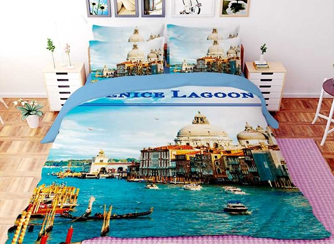 Vivilinen 3D Grand Canal in Venice Printed Polyester 4-Piece Bedding Sets/Duvet Covers