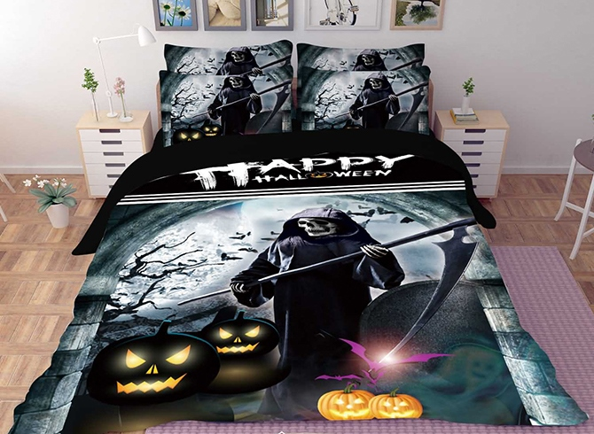 Vivilinen 3D Halloween Pumpkin and Skull Printed Polyester 4-Piece Bedding Sets/Duvet Covers