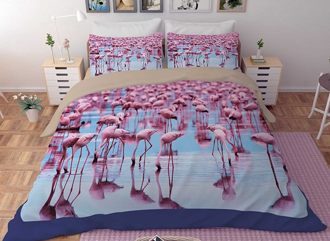 Vivilinen 3D Tropical Flamingo by the Sea Printed Polyester 4-Piece Bedding Sets/Duvet Covers