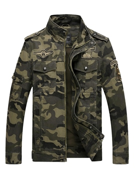 Ericdress Cotton Blends Camouflage Stand Collar Zip Men's Jacket