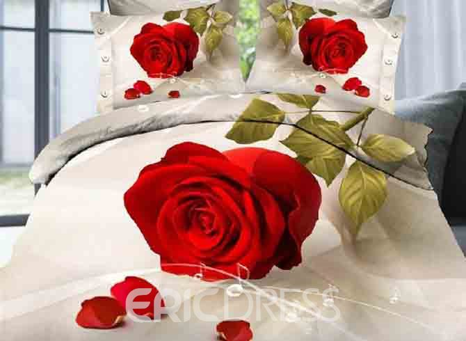 Vivilinen 3D Red Rose and Music Notes Printed Polyester 4-Piece Bedding Sets/Duvet Covers 13028180