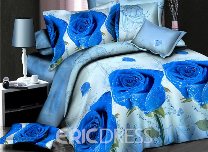 Vivilinen Shining Blue Rose Print 4-Piece Polyester Duvet Cover Sets