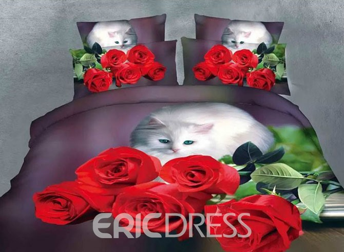 Vivilinen Cute Cat Staring Rose Print Polyester 4-Piece Duvet Cover Sets
