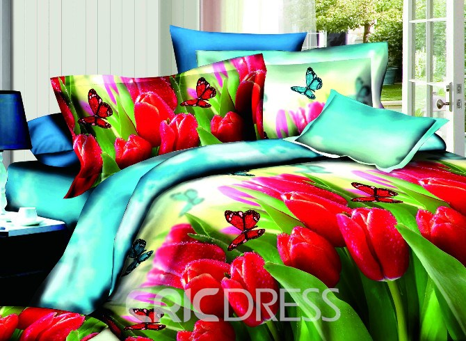Vivilinen Luxury Red Tulip and Butterfly Print 4-Piece Polyester Duvet Cover Sets