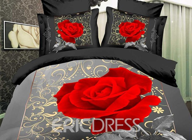 Vivilinen High Quality Romantic Rose Print 4 Piece Polyester 3D Bedding Sets