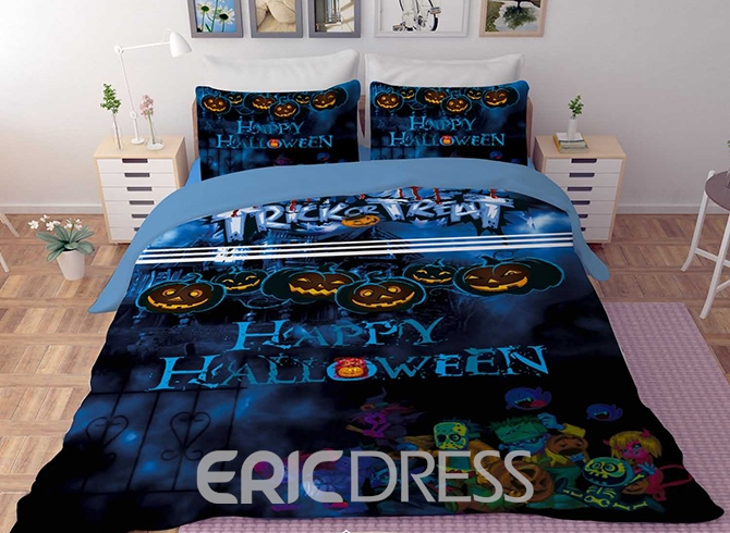 Vivilinen 3D Pumpkin and Happy Halloween Printed Polyester 4-Piece Blue Bedding Sets/Duvet Covers