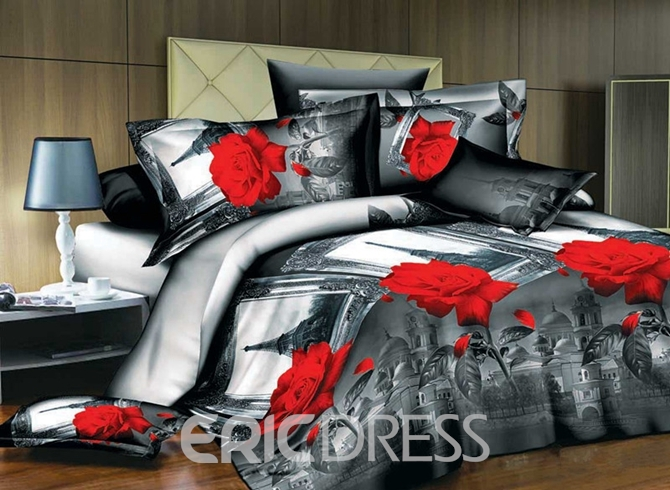 Vivilinen 3D Red Rose and Eiffel Tower Print 4-Piece Polyester Duvet Cover Sets