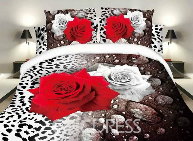 Vivilinen White and Red Roses Leopard Design Polyester 4-Piece Duvet Cover Sets