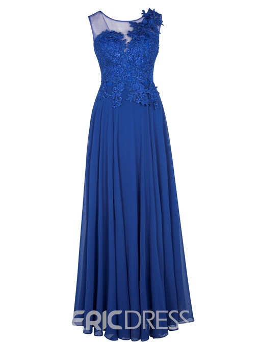 Evening Dress A-Line Scoop Neckline Lace-Up Applique Lace
