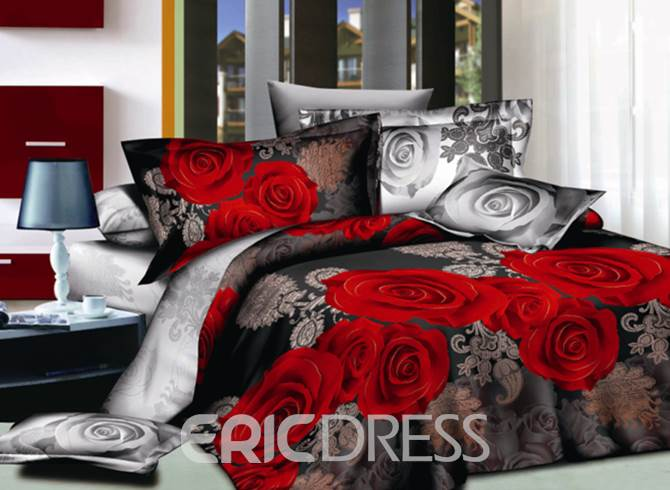 Vivilinen Sweet 3D Red Rose Print 4-Piece Polyester Duvet Cover Sets
