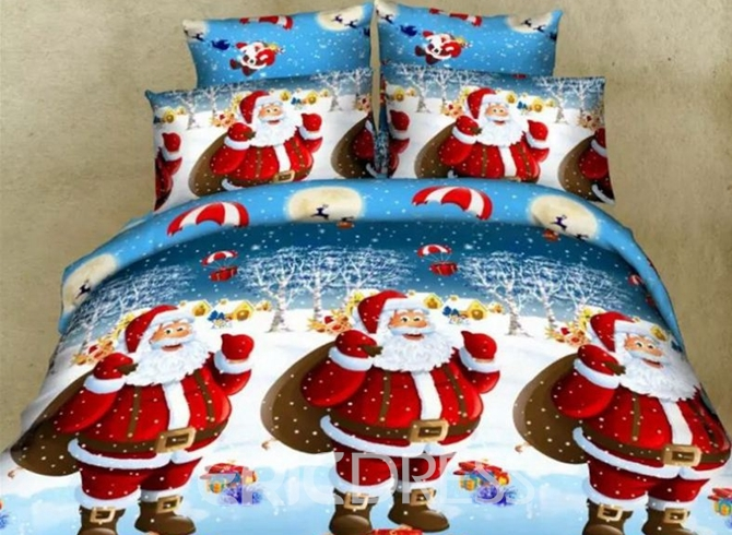 Vivilinen Lovely Christmas 3D Santa Disperse Printing 4-Piece Polyester Duvet Cover Sets