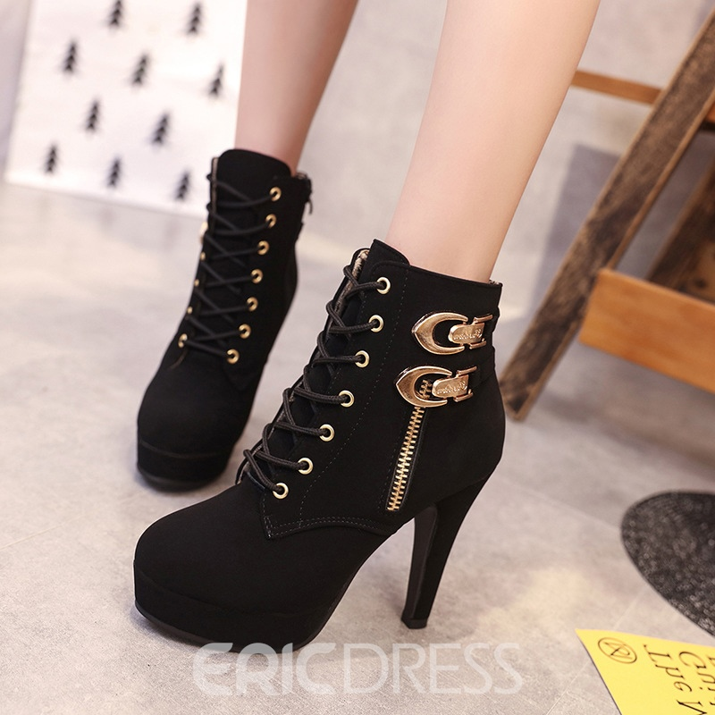 Ericdress Fashion Platform Plain High Heel Boots with Buckle