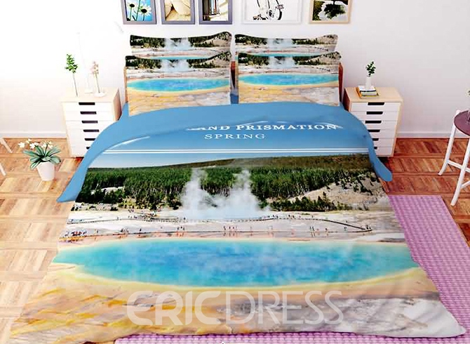 Vivilinen 3D Smoking Hot Spring Printed Polyester 4-Piece Bedding Sets/Duvet Covers