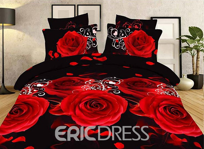 Vivilinen Red Roses and Petals Printing Polyester 4-Piece Duvet Cover Sets